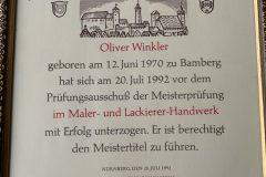 Meisterbrief - Oliver Winkler