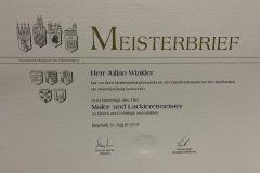 Meisterbrief - Julian Winkler