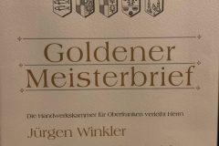 Goldener Meisterbrief - Jürgen Winkler